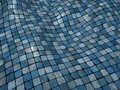3d blue wobble mosaic tile floor surface Royalty Free Stock Photos