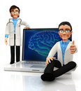 3D brain doctors Royalty Free Stock Photo