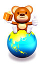 3d brown bear sitting on globe Royalty Free Stock Image