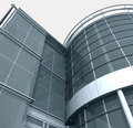 3d Building Glass Corner Entrance Circle and Quadr Stock Photo