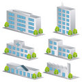 3d building icons set Royalty Free Stock Images