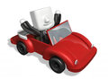 3d business man driving in the red convertible Royalty Free Stock Photo