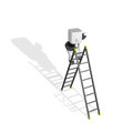 3d business man searching on the ladder Stock Photos