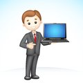 3d Business Man showing Laptop Royalty Free Stock Photography