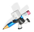 3d business man writing with his pencil Royalty Free Stock Photo