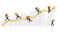 3D Business people with a growth graph Stock Photo