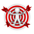 3d character lay down on a big archery target Royalty Free Stock Photo