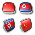 3d china and north korea flag button Stock Photo