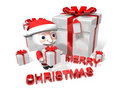 The 3d christmas gift of santa claus Royalty Free Stock Images