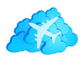 3d clouds with silhouette of jet airliner icon Royalty Free Stock Photography