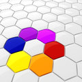 3d colorful hexagonal puzzle pieces Royalty Free Stock Images