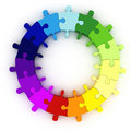 3d colorful puzzle chart wheel Royalty Free Stock Photo