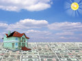 A 3D concept house on money Stock Image