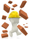3D construction worker with bricks Stock Photography