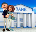 3D couple at the bank Royalty Free Stock Photography