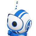 3d Cute Blue Robot with antennae and observing