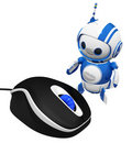 3d Cute Blue Robot with Computer Mouse Stock Images
