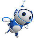 3d Cute Blue Robot Flying Like a Hero Royalty Free Stock Photos