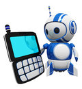 3d Cute Blue Robot with PDA Stock Photography