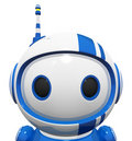 3d Cute Blue Robot Portrait Close Up Royalty Free Stock Images