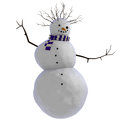 3D dancing snowman with purple and white striped scarf and twigs for afro haircut