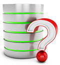 3d database server with red question mark Stock Photos