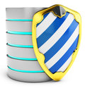 3d database with shield security concept Royalty Free Stock Images