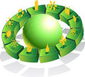 3D Eco Friendly Green Globe Royalty Free Stock Photo