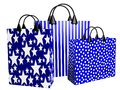 3D Festive Blue Shopping Bags Royalty Free Stock Images