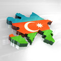 3d flag map of azerbaijan Stock Photography