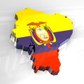 3d flag map of Ecuador Royalty Free Stock Image