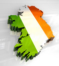 3d flag map of Ireland