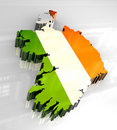 3d flag map of Ireland Stock Photos
