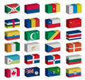 3D flags set Stock Photo