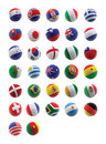 3D football with flags Stock Photos