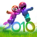 3d funny icon symbol of 2010 new year in meadow Stock Photos