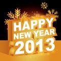 3D, Gelukkig nieuw jaar 2013 Stock Foto