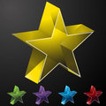 3D Glass Crystal Stars Stock Photos