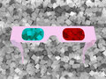 3D glasses and grey cubes Royalty Free Stock Photos