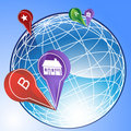 3D Globe with Points of Interest Royalty Free Stock Photos