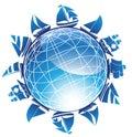 3D Globe with Surrounding Sailboats Royalty Free Stock Photos