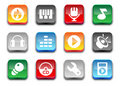 3d glossy simple music icons. Stock Photo