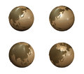 3d gold globe range four set Royalty Free Stock Images