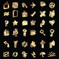 3D gold icons set Stock Image