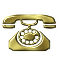 3D Golden Antique Telephone Royalty Free Stock Photo