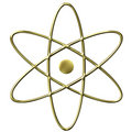 3D Golden Atom Symbol Royalty Free Stock Photo