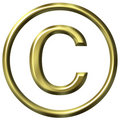 3D Golden Copyright Symbol Royalty Free Stock Photos