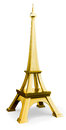 3d golden  eiffel tower symbol Royalty Free Stock Image