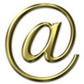 3D Golden Email Symbol Stock Photos