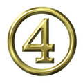 3D Golden Number 4 Royalty Free Stock Images